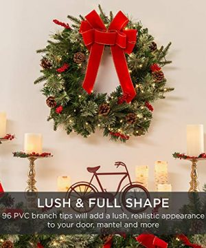 Best Choice Products 24in Pre Lit Battery Powered Christmas Wreath Artificial Pre Decorated Holiday Accent W 70 Lights 96 PVC Tips Ribbons Pine Cones 0 0 300x360