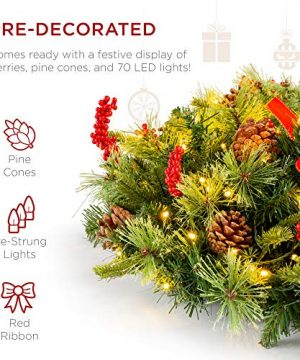 Best Choice Products 24in Pre Lit Battery Powered Christmas Wreath Artificial Pre Decorated Holiday Accent W 70 Lights 96 PVC Tips Ribbons Pine Cones 0 1 300x360