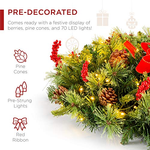 Best Choice Products 24in Pre Lit Battery Powered Christmas Wreath Artificial Pre Decorated Holiday Accent W 70 Lights 96 PVC Tips Ribbons Pine Cones 0 1