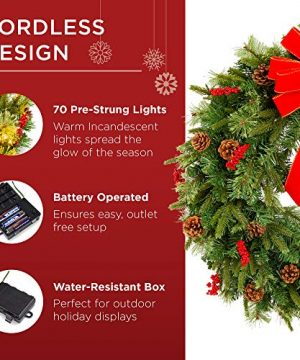 Best Choice Products 24in Pre Lit Battery Powered Christmas Wreath Artificial Pre Decorated Holiday Accent W 70 Lights 96 PVC Tips Ribbons Pine Cones 0 2 300x360
