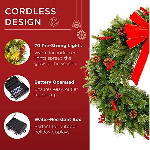 Best Choice Products 24in Pre Lit Battery Powered Christmas Wreath Artificial Pre Decorated Holiday Accent W 70 Lights 96 PVC Tips Ribbons Pine Cones 0 2