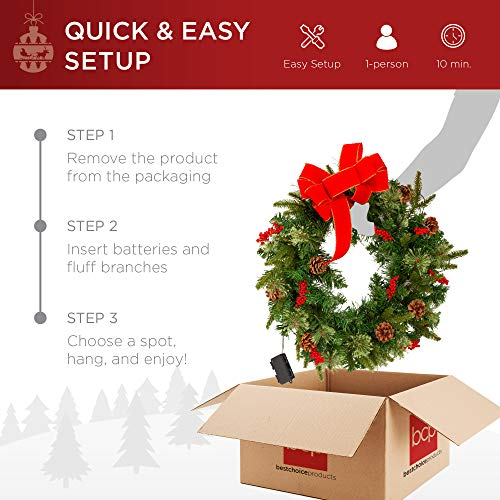 Best Choice Products 24in Pre Lit Battery Powered Christmas Wreath Artificial Pre Decorated Holiday Accent W 70 Lights 96 PVC Tips Ribbons Pine Cones 0 3