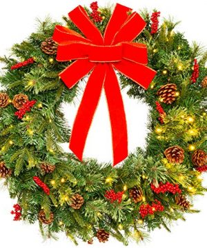 Best Choice Products 24in Pre Lit Battery Powered Christmas Wreath Artificial Pre Decorated Holiday Accent W 70 Lights 96 PVC Tips Ribbons Pine Cones 0 300x360
