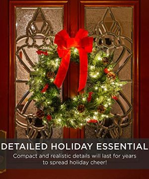 Best Choice Products 24in Pre Lit Battery Powered Christmas Wreath Artificial Pre Decorated Holiday Accent W 70 Lights 96 PVC Tips Ribbons Pine Cones 0 4 300x360
