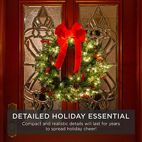 Best Choice Products 24in Pre Lit Battery Powered Christmas Wreath Artificial Pre Decorated Holiday Accent W 70 Lights 96 PVC Tips Ribbons Pine Cones 0 4