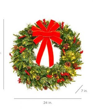 Best Choice Products 24in Pre Lit Battery Powered Christmas Wreath Artificial Pre Decorated Holiday Accent W 70 Lights 96 PVC Tips Ribbons Pine Cones 0 5 300x360