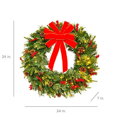 Best Choice Products 24in Pre Lit Battery Powered Christmas Wreath Artificial Pre Decorated Holiday Accent W 70 Lights 96 PVC Tips Ribbons Pine Cones 0 5