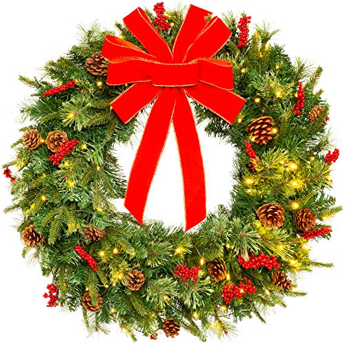 Best Choice Products 24in Pre Lit Battery Powered Christmas Wreath Artificial Pre Decorated Holiday Accent W 70 Lights 96 PVC Tips Ribbons Pine Cones 0