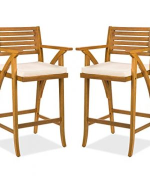 Best Choice Products Set Of 2 Outdoor Acacia Wood Bar Stools Bar Chairs For Patio Pool Garden WWeather Resistant Cushions Teak Finish 0 300x360