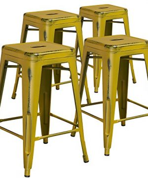 BizChair 4 Pack 24 High Backless Distressed Yellow Metal Indoor Outdoor Counter Stool 0 300x360