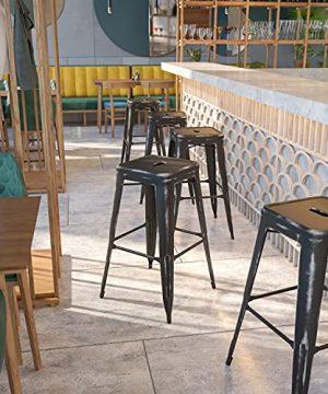 BizChair Commercial Grade 30 H Backless Distressed Black Metal Indoor Outdoor Barstool 0 300x360