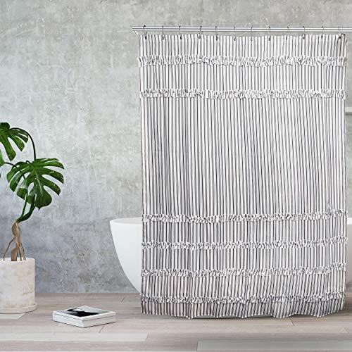 Black And White Ruffle Shower Curtain Striped Modern Farmhouse Boho Curtain For Showers And Bathtubs 72 X 80 Long 0 3