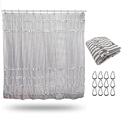 Black And White Ruffle Shower Curtain Striped Modern Farmhouse Boho Curtain For Showers And Bathtubs 72 X 80 Long 0