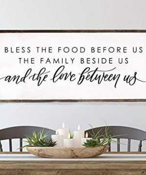 Bless The Food Before Us Wood Framed Sign Dining Room Wall Decor Kitchen Signs Farmhouse Wall Decor Framed Wood Signs 0 300x360
