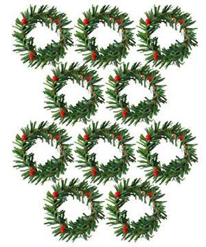 Boieo Mini Artificial Christmas Wreaths Ornaments 10 Pcs 0 300x360