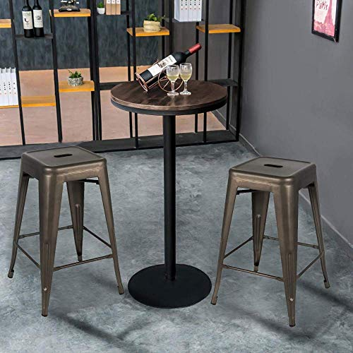 Bonzy Home Bar Stools Set Of 4 24 Inches Metal Bar Stools Stackable Counter Height Barstools Farmhouse Barstool For Kitchen IndoorOutdoor Backless Bar Stools Gunmetal 0 0