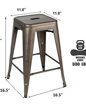 Bonzy Home Bar Stools Set Of 4 24 Inches Metal Bar Stools Stackable Counter Height Barstools Farmhouse Barstool For Kitchen IndoorOutdoor Backless Bar Stools Gunmetal 0 1 300x360
