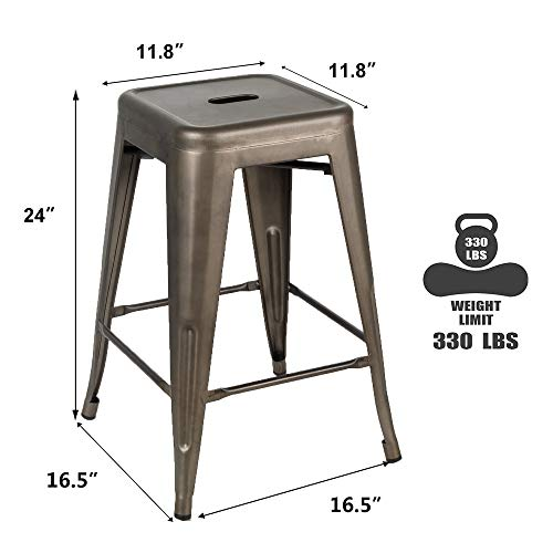 Bonzy Home Bar Stools Set Of 4 24 Inches Metal Bar Stools Stackable Counter Height Barstools Farmhouse Barstool For Kitchen IndoorOutdoor Backless Bar Stools Gunmetal 0 1