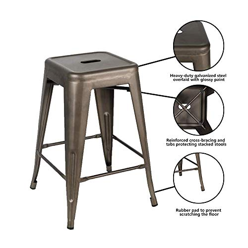 Bonzy Home Bar Stools Set Of 4 24 Inches Metal Bar Stools Stackable Counter Height Barstools Farmhouse Barstool For Kitchen IndoorOutdoor Backless Bar Stools Gunmetal 0 3