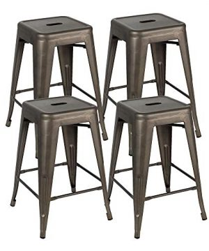 Bonzy Home Bar Stools Set Of 4 24 Inches Metal Bar Stools Stackable Counter Height Barstools Farmhouse Barstool For Kitchen IndoorOutdoor Backless Bar Stools Gunmetal 0 300x360