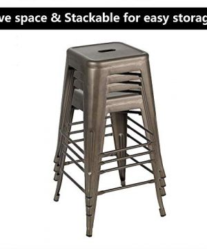Bonzy Home Bar Stools Set Of 4 24 Inches Metal Bar Stools Stackable Counter Height Barstools Farmhouse Barstool For Kitchen IndoorOutdoor Backless Bar Stools Gunmetal 0 4 300x360