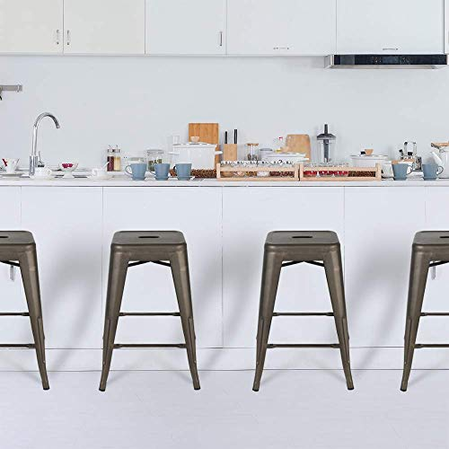Bonzy Home Bar Stools Set Of 4 24 Inches Metal Bar Stools Stackable Counter Height Barstools Farmhouse Barstool For Kitchen IndoorOutdoor Backless Bar Stools Gunmetal 0 5