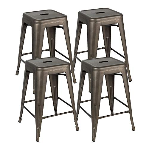 Bonzy Home Bar Stools Set Of 4 24 Inches Metal Bar Stools Stackable Counter Height Barstools Farmhouse Barstool For Kitchen IndoorOutdoor Backless Bar Stools Gunmetal 0