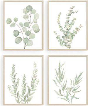 Botanical Boho Bathroom Decor Wall Art Sage Green Plants Decor For BedroomOffice Minimalist Eucalyptus Leaves Watercolor Art Prints Set Of 4 Pictures 8x10 UNFRAMED 0 300x360