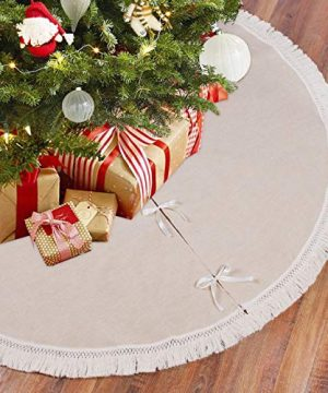 Burlap Christmas Tree Skirt 48 Inch Rustic Tree Skirts With Fringe Trim For Xmas New Year Holiday Decorations Indoor Outdoor By QIFU 0 300x360