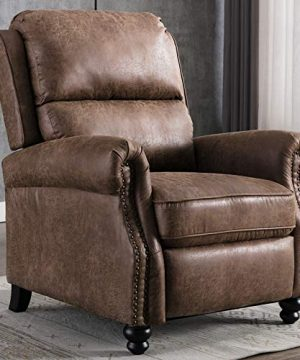 CANMOV Pushback Recliner Chair Leather Armchair Push Back Recliner With Rivet Decoration Single Sofa Accent Chair For Living Room Chocolate 0 300x360
