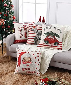CAROMIO Christmas Pillow Covers 18x18 Set Of 4Farmhouse Christmas Decorations PillowcaseRed Stripe Rustic Xmas Winter Holiday Cushion Case For Home DecorTree Rustic Truck Santa Claus Stocking 0 0 300x360