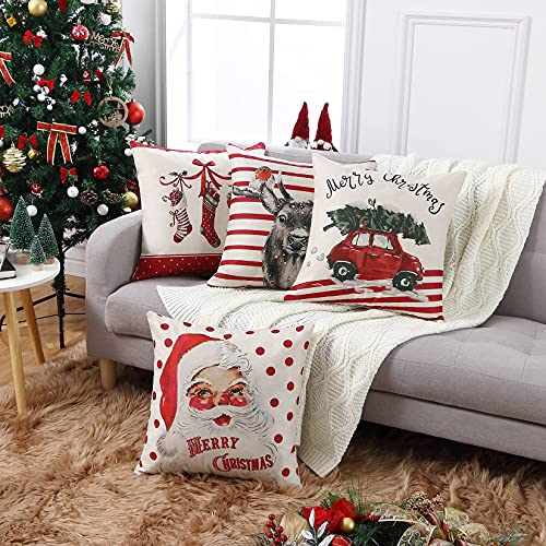 CAROMIO Christmas Pillow Covers 18x18 Set Of 4Farmhouse Christmas Decorations PillowcaseRed Stripe Rustic Xmas Winter Holiday Cushion Case For Home DecorTree Rustic Truck Santa Claus Stocking 0 0