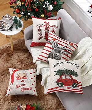 CAROMIO Christmas Pillow Covers 18x18 Set Of 4Farmhouse Christmas Decorations PillowcaseRed Stripe Rustic Xmas Winter Holiday Cushion Case For Home DecorTree Rustic Truck Santa Claus Stocking 0 1 300x360