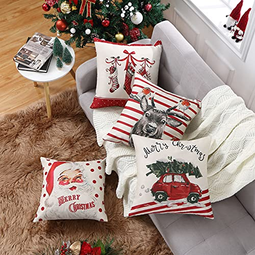CAROMIO Christmas Pillow Covers 18x18 Set Of 4Farmhouse Christmas Decorations PillowcaseRed Stripe Rustic Xmas Winter Holiday Cushion Case For Home DecorTree Rustic Truck Santa Claus Stocking 0 1