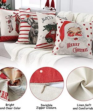 CAROMIO Christmas Pillow Covers 18x18 Set Of 4Farmhouse Christmas Decorations PillowcaseRed Stripe Rustic Xmas Winter Holiday Cushion Case For Home DecorTree Rustic Truck Santa Claus Stocking 0 2 300x360