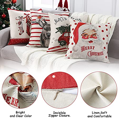 CAROMIO Christmas Pillow Covers 18x18 Set Of 4Farmhouse Christmas Decorations PillowcaseRed Stripe Rustic Xmas Winter Holiday Cushion Case For Home DecorTree Rustic Truck Santa Claus Stocking 0 2