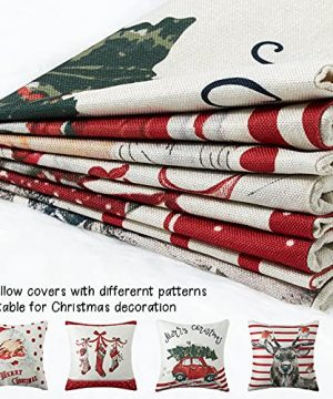 CAROMIO Christmas Pillow Covers 18x18 Set Of 4Farmhouse Christmas Decorations PillowcaseRed Stripe Rustic Xmas Winter Holiday Cushion Case For Home DecorTree Rustic Truck Santa Claus Stocking 0 3 300x360