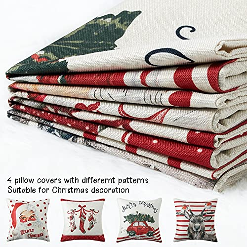 CAROMIO Christmas Pillow Covers 18x18 Set Of 4Farmhouse Christmas Decorations PillowcaseRed Stripe Rustic Xmas Winter Holiday Cushion Case For Home DecorTree Rustic Truck Santa Claus Stocking 0 3