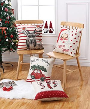 CAROMIO Christmas Pillow Covers 18x18 Set Of 4Farmhouse Christmas Decorations PillowcaseRed Stripe Rustic Xmas Winter Holiday Cushion Case For Home DecorTree Rustic Truck Santa Claus Stocking 0 5 300x360