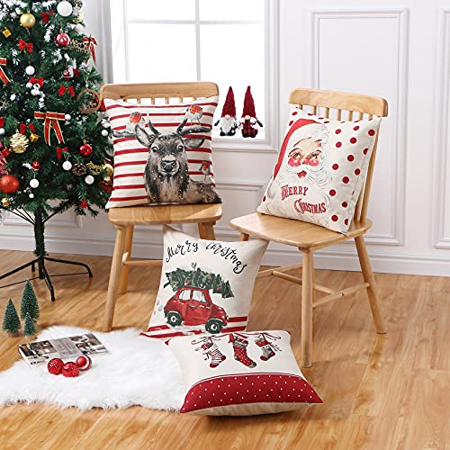 CAROMIO Christmas Pillow Covers 18x18 Set Of 4Farmhouse Christmas Decorations PillowcaseRed Stripe Rustic Xmas Winter Holiday Cushion Case For Home DecorTree Rustic Truck Santa Claus Stocking 0 5