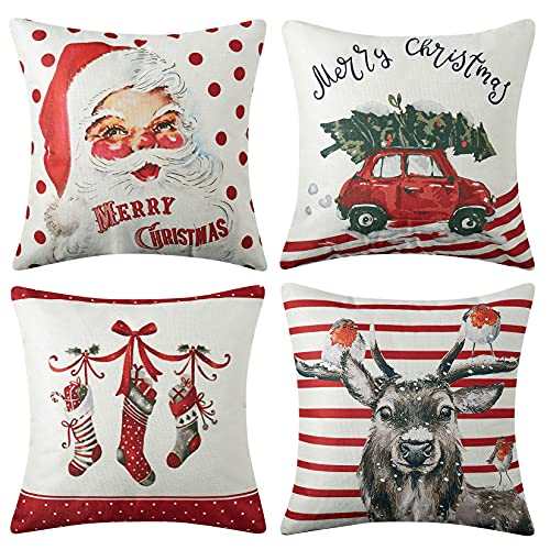 CAROMIO Christmas Pillow Covers 18x18 Set Of 4Farmhouse Christmas Decorations PillowcaseRed Stripe Rustic Xmas Winter Holiday Cushion Case For Home DecorTree Rustic Truck Santa Claus Stocking 0