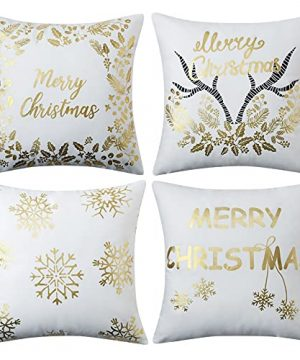 CAROMIO Christmas Pillow Covers 18x18Farmhouse Christmas Decorations PillowcaseGold Stamping Print Snowflakes Xmas Rustic Pillow Case Winter Holiday Decorations Cushion Case For Home Decor 0 300x360