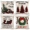 CDWERD Christmas Pillow Covers 18x18 Inches Set Of 4 Buffalo Plaid Farmhouse Decorative Throw Pillow Cases Cotton Linen Cushion Case Christmas Decoration For Home Decor 0 100x100
