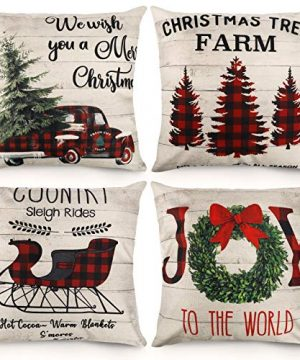 CDWERD Christmas Pillow Covers 18x18 Inches Set Of 4 Buffalo Plaid Farmhouse Decorative Throw Pillow Cases Cotton Linen Cushion Case Christmas Decoration For Home Decor 0 300x360