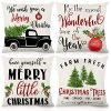 CDWERD Christmas Throw Pillow Covers 18x18 Inches Christmas Decorations Rustic Farmhouse Pillowcase Cotton Linen Cushion Case For Home Decor Set Of 4 0 100x100