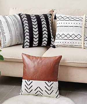 CDWERD Throw Pillow Covers 18x18 Inch Set Of 4 Boho Modern Farmhouse Neutral Decorative Pillowcases Faux Leather And Linen Cushion Case For Couch Bed Home Decor 0 300x360