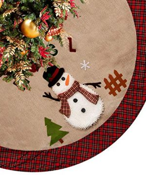 CELIVESGG 48 Christmas Tree Skirt Tree Skirt Double Layers A Fine Decorative Handicraft For Holiday Party Beige 0 300x360