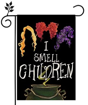 CROWNED BEAUTY Halloween Garden Flag I Smell Children Sanderson Sisters Double Sided Vertical 1218 Inch Rustic Black Farmhouse Decor For Seasonal Holiday Yard CF287 12 0 300x360