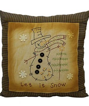 CVHOMEDECO Primitives Let It Snow Embroidered Throw Pillow With Snowman Snowflake Tree Farmhouse Accent 16 X 16 Inch 0 300x360