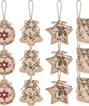 Christmas Burlap Tree Ornaments Hanging Decorations Christmas Stocking Tree Ball Shaped Decor For Christmas Party 0 300x360